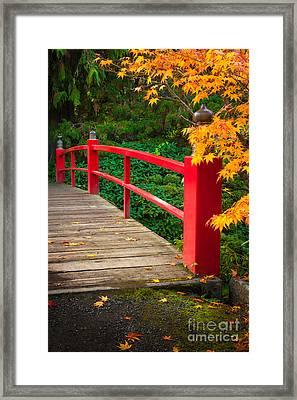 Japanese Bridge Framed Print by Inge Johnsson
