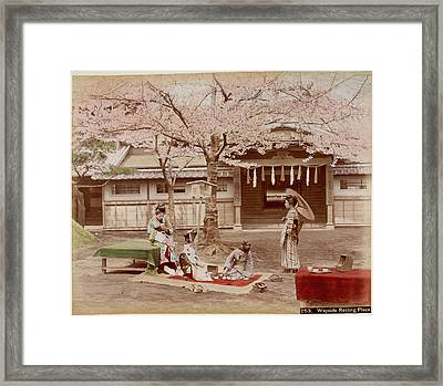 Japanese Building And A Cherry Tree Framed Print