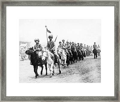 Japanese Calvary In Manchuria Framed Print by Underwood Archives
