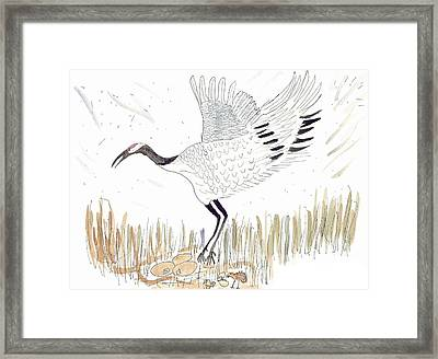 Framed Print featuring the painting Japanese Crane And Her Nest by Helen Holden-Gladsky