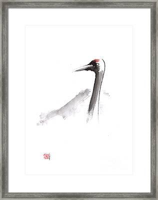 Japanese Crane And Mount Fuji Original Artwork Framed Print by Mariusz Szmerdt
