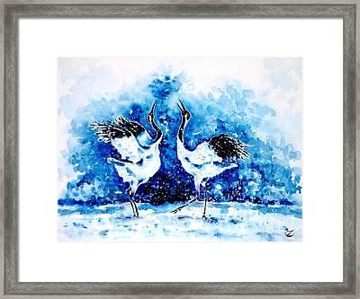 Japanese Cranes Framed Print by Zaira Dzhaubaeva