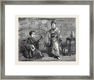 Japanese Dancing Girl Practising 1874 Framed Print by Japanese School