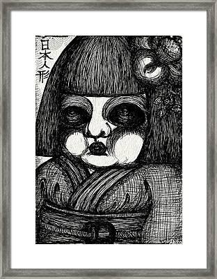 Japanese Doll Framed Print by Akiko Okabe