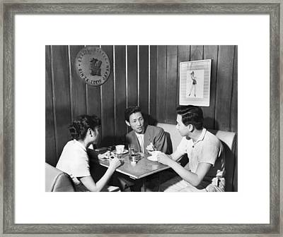 Japanese Drinking Coffee Framed Print by Underwood Archives