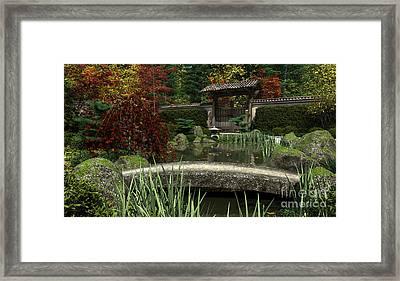 Japanese Garden And Koi Pond Autumn Framed Print
