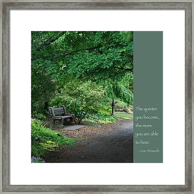 Japanese Garden Bench  Framed Print by Heidi Hermes