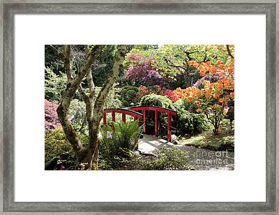Japanese Garden Bridge With Rhododendrons Framed Print by Carol Groenen