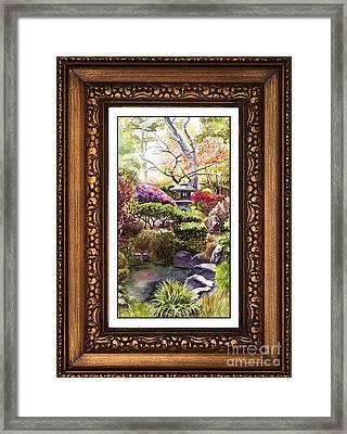 Japanese Garden In Vintage Frame Framed Print