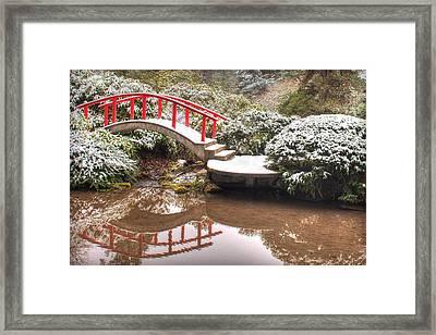 Japanese Garden Snowfall 2 Framed Print by Jeff Cook