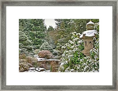 Japanese Garden Snowfall Framed Print by Jeff Cook
