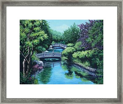 Japanese Garden Two Bridges Framed Print by Penny Birch-Williams