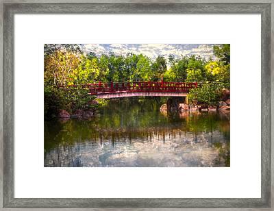 Japanese Gardens Bridge Framed Print by Debra and Dave Vanderlaan