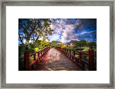 Japanese Gardens Framed Print by Debra and Dave Vanderlaan