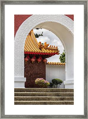 Japanese House Through An Arch Framed Print