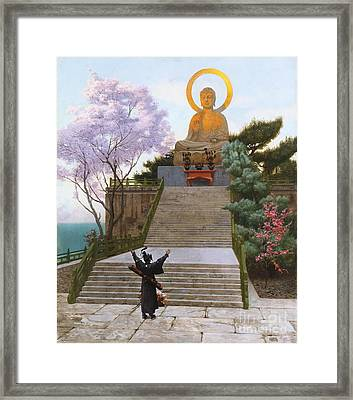 Japanese Imploring A Divinity Framed Print