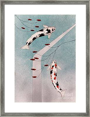 Japanese Koi And Silver Waterfall Painting Framed Print by Gordon Lavender