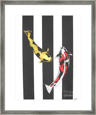 Japanese Koi Doitsu Showa And Showa Sumi Black Lines Framed Print by Gordon Lavender