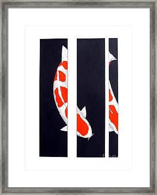 Japanese Koi Kohaku Division Painting Framed Print by Gordon Lavender