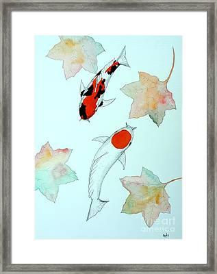 Japanese Koi Tancho And Showa Sanke Painting Framed Print by Gordon Lavender
