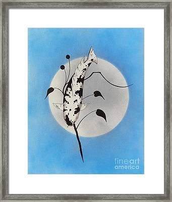 Japanese Koi Utsuri Mono Ikebana Blue Framed Print by Gordon Lavender