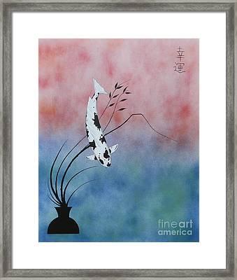 Lucky Japanese Koi Utsuri Mono Ikebana Framed Print by Gordon Lavender