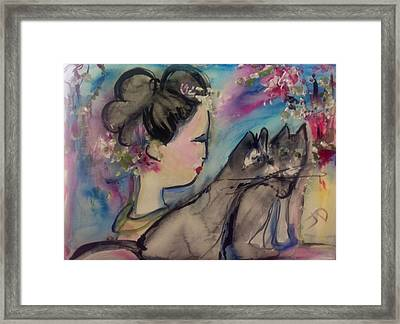 Japanese Lady And Felines Framed Print