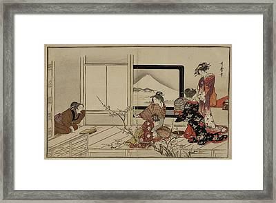 Japanese Lady And Servants Framed Print