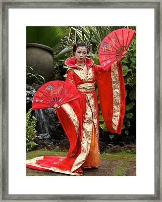 Japanese Lady With Fan Framed Print by Bonita Hensley