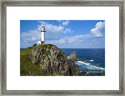 Japanese Lighthouse At Uganzaki Framed Print