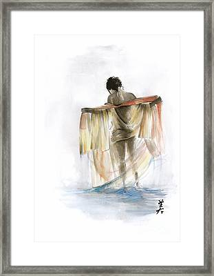 Japanese Nude Geisha Woman Wearing Asian Oriental Colorful Kimono Original Watercolor Painting  Framed Print by Mariusz Szmerdt