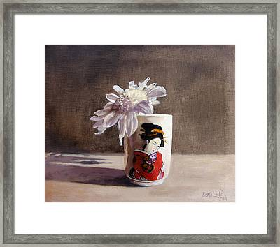 Japanese Saki Cup With Chrysanthemum Framed Print by Kathryn Donatelli