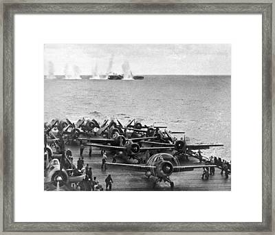 Japanese Salvos Drop Next To The Uss White Plains As The Uss Kit Framed Print by Underwood Archives