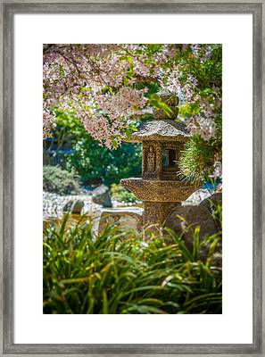 Japanese Shrine In The Garden Framed Print by Sarit Sotangkur