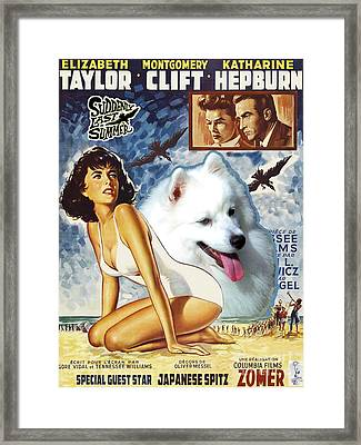 Japanese Spitz Art Canvas Print - Suddenly Last Summer Movie Poster Framed Print by Sandra Sij