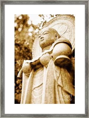 Japanese Statue - Jizo - Guardian Of Children In Japan Framed Print by David Hill