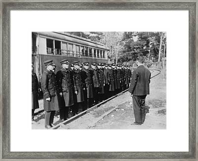Japanese Street Car Conductors Framed Print by Underwood Archives