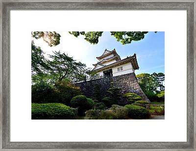 Japanese Style Castle With Nice Sky And Big Tree Framed Print