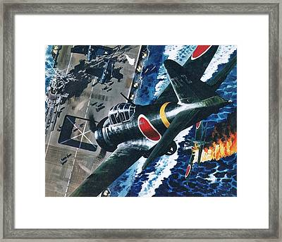 Japanese Suicide Attack On American Framed Print by Wilf Hardy