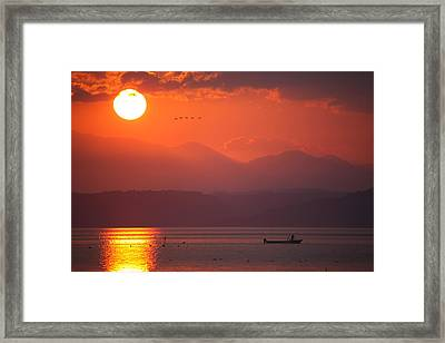 Framed Print featuring the photograph Japanese Sunset by Brad Brizek