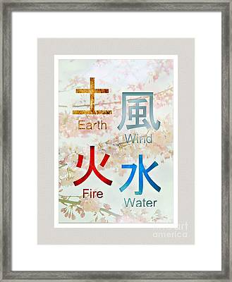 Japanese Symbols   Earth Wind  Fire Water Framed Print