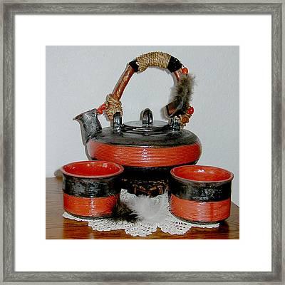Japanese Tea Set Framed Print by Beth Gramith