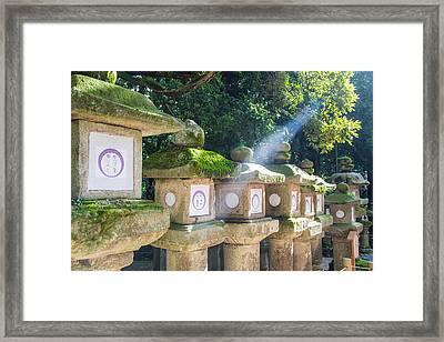 Japanese Toro Lantern For The Dead Found In Nara Japan Framed Print by Laura Palmer