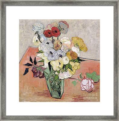Japanese Vase With Roses And Anemones Framed Print