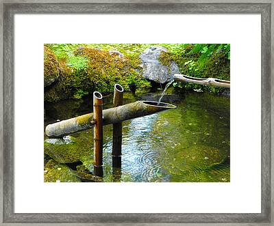 Japanese Water Fountain Framed Print by Phyllis Britton
