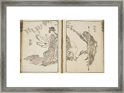 Japanese Woman With White Fox And Monkey Framed Print by British Library