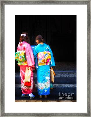 Japanese Women Wearing Beautiful Kimono Framed Print
