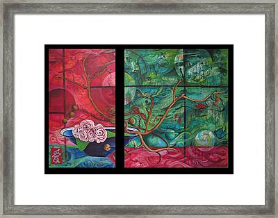 Framed Print featuring the painting Japanesse Flower Arrangment by Joshua Morton