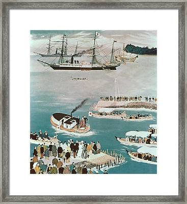 Japans First Foreign Mission, Headed By Prince Iwakura Framed Print