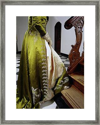 Japon Or Redingote Of Moss Green And Soft Pink Silk Framed Print